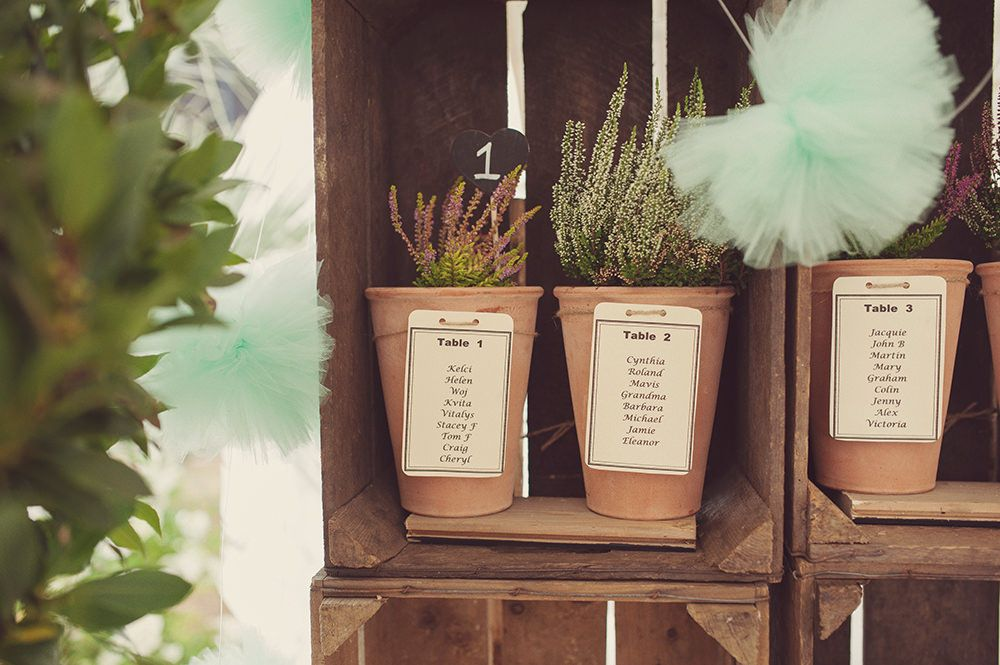Use planters and herbs as centerpieces