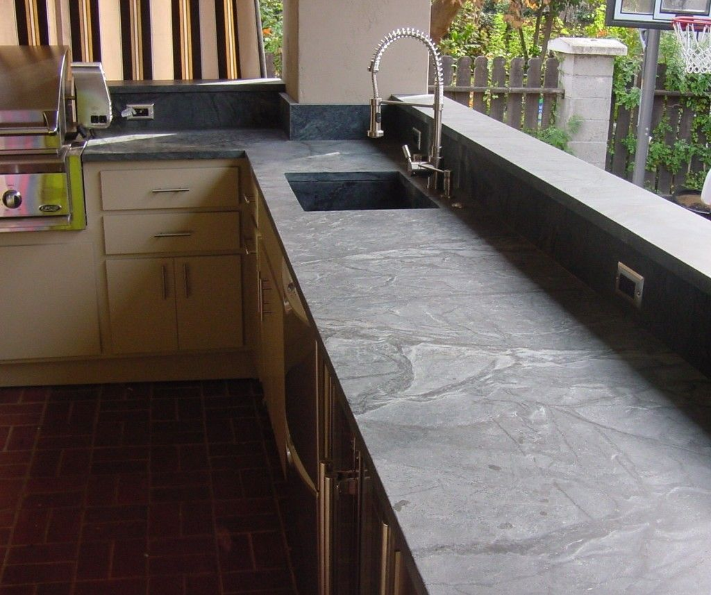 Soapstone is so versatile that Premier Surfaces used in in this outdoor kitchen.