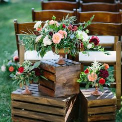Recycle old crates for your wedding flower decor