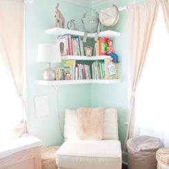 Simple DIY nursery floating shelves