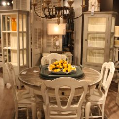 round dining table with chairs in white distressed furniture