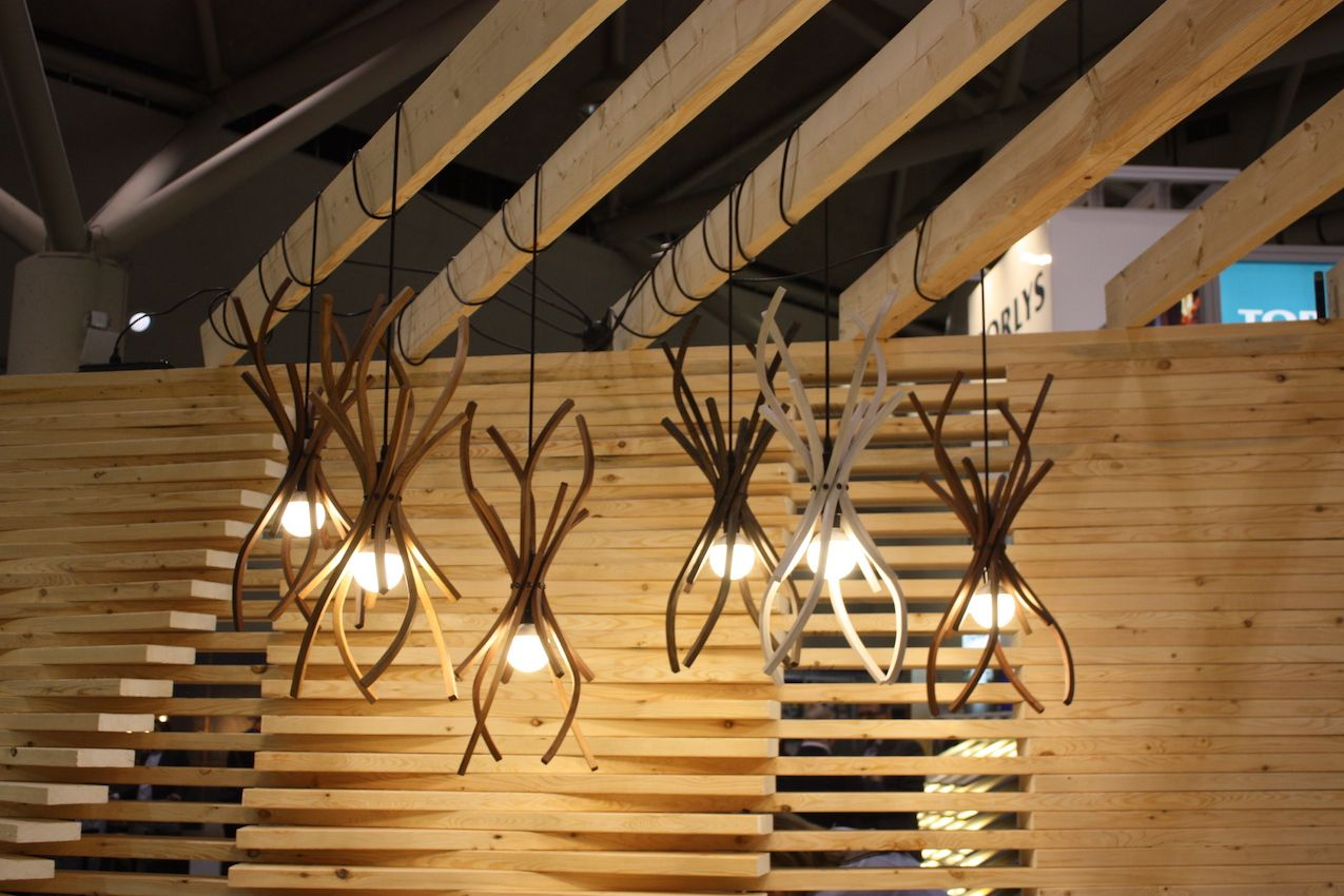These wooden pendants have a lovely branching structure.