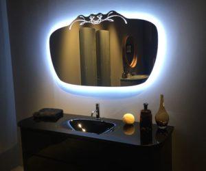 Amazing Look Of The Black Bathroom Vanity And Backlit Mirror