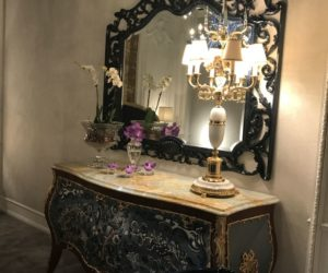 Baroque Style Mirror With Blue Accents