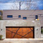 Corten angular strips for garage door