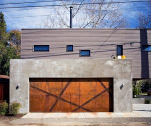 Corten angular strips for garage door