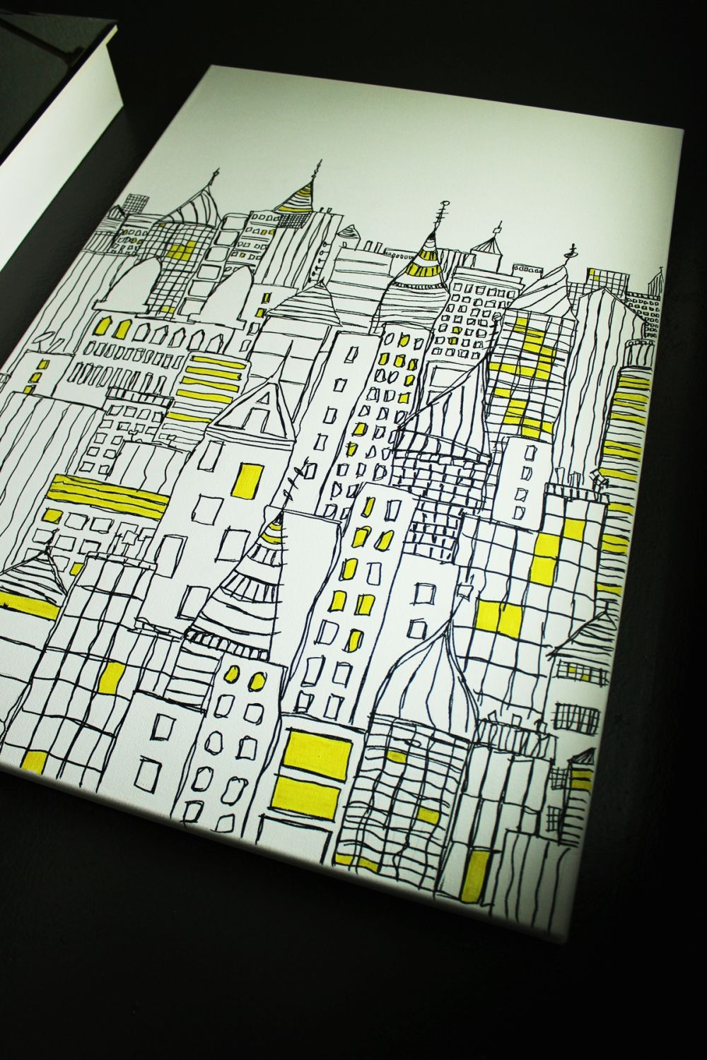 Diy Sharpie Art Cityscape Sketch On Canvas