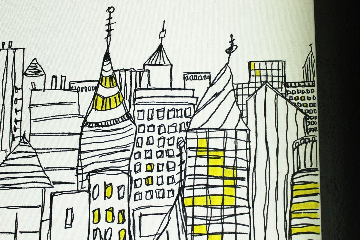 DIY Sharpie Art: Cityscape Sketch on Canvas