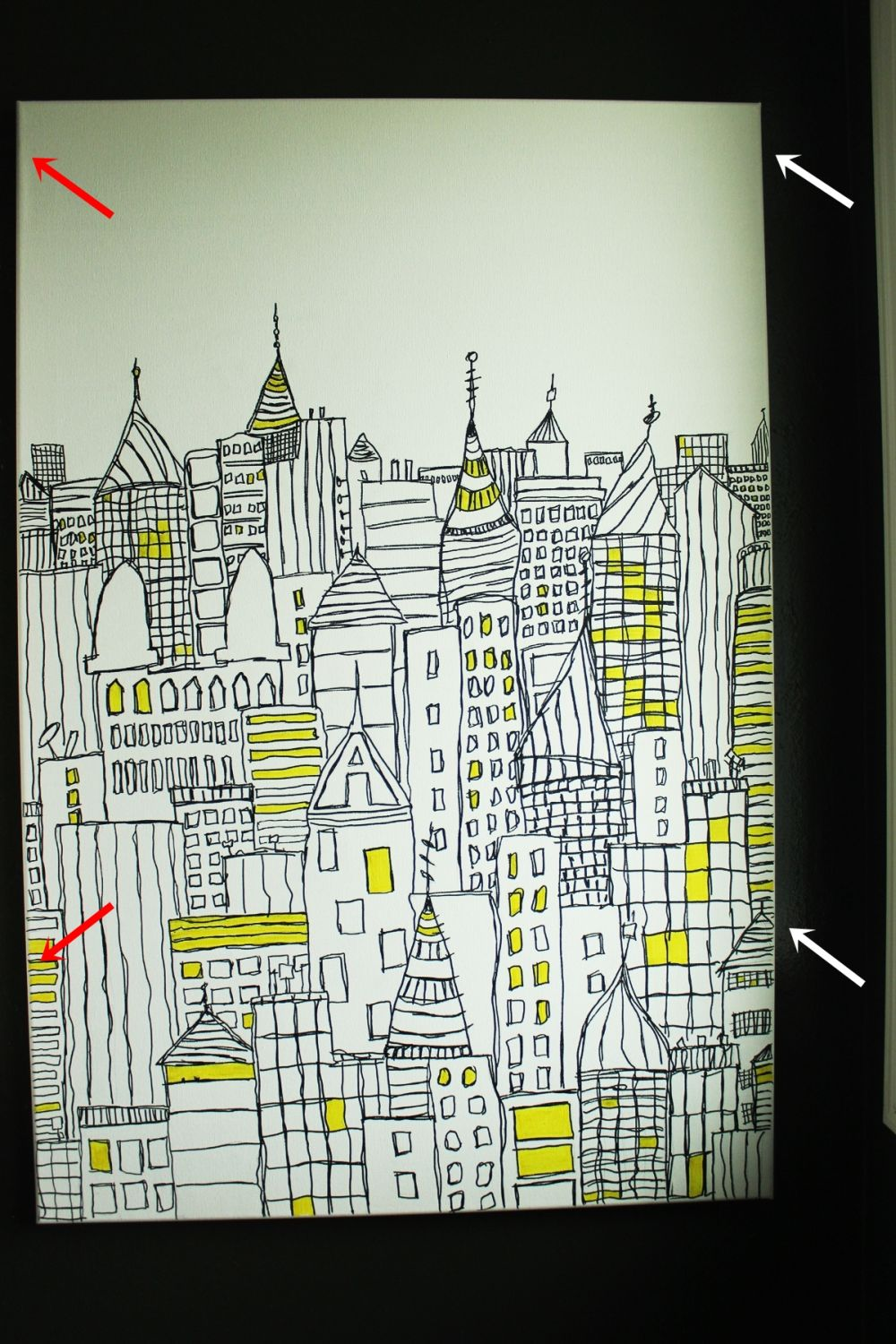 DIY Sharpie Art: Cityscape Sketch on Canvas | Healthy Home Cleaners