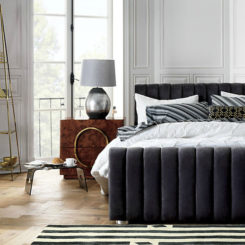 Dark gray velvet headboard