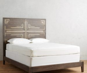 Dark wood pattern headboard