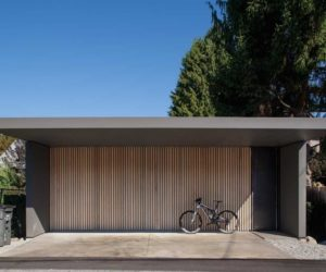 Large one car garage architecture from D Arcy Jones Architecture