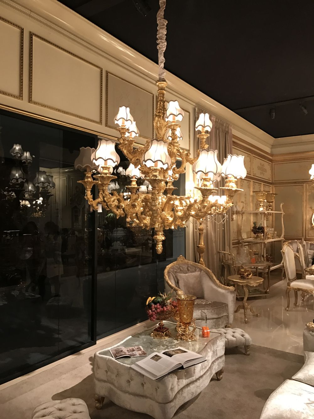 Plentiful gold and darker shades of ivory are typically Baroque style.