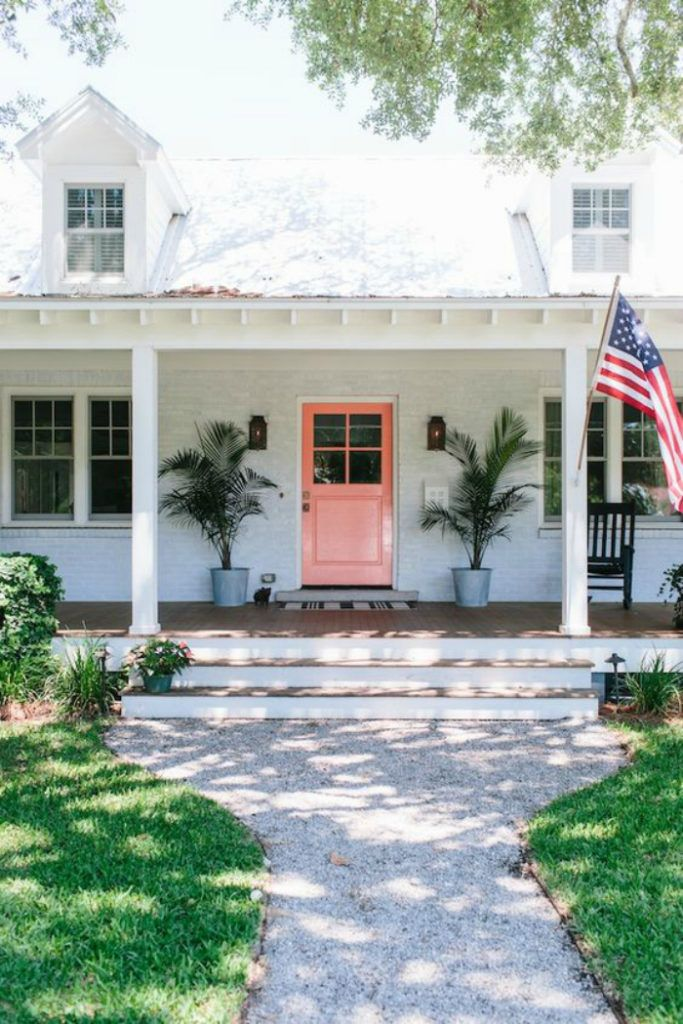 White Painted Brick Exterior Can Make Your Front Door Pop With Color