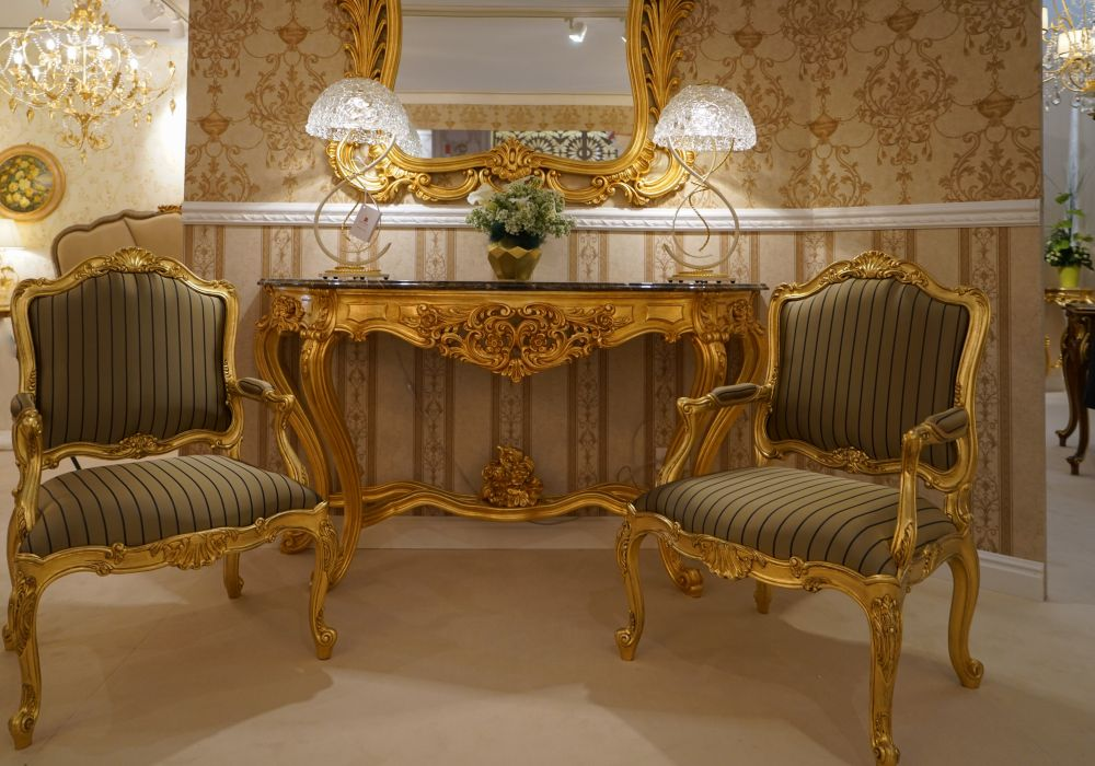 Details Make the Difference in Baroque Rococo Style Furniture : rococo furniture gold armchairs and narrow entryway table baroque mirror from www.homedit.com size 1000 x 700 jpeg 130kB