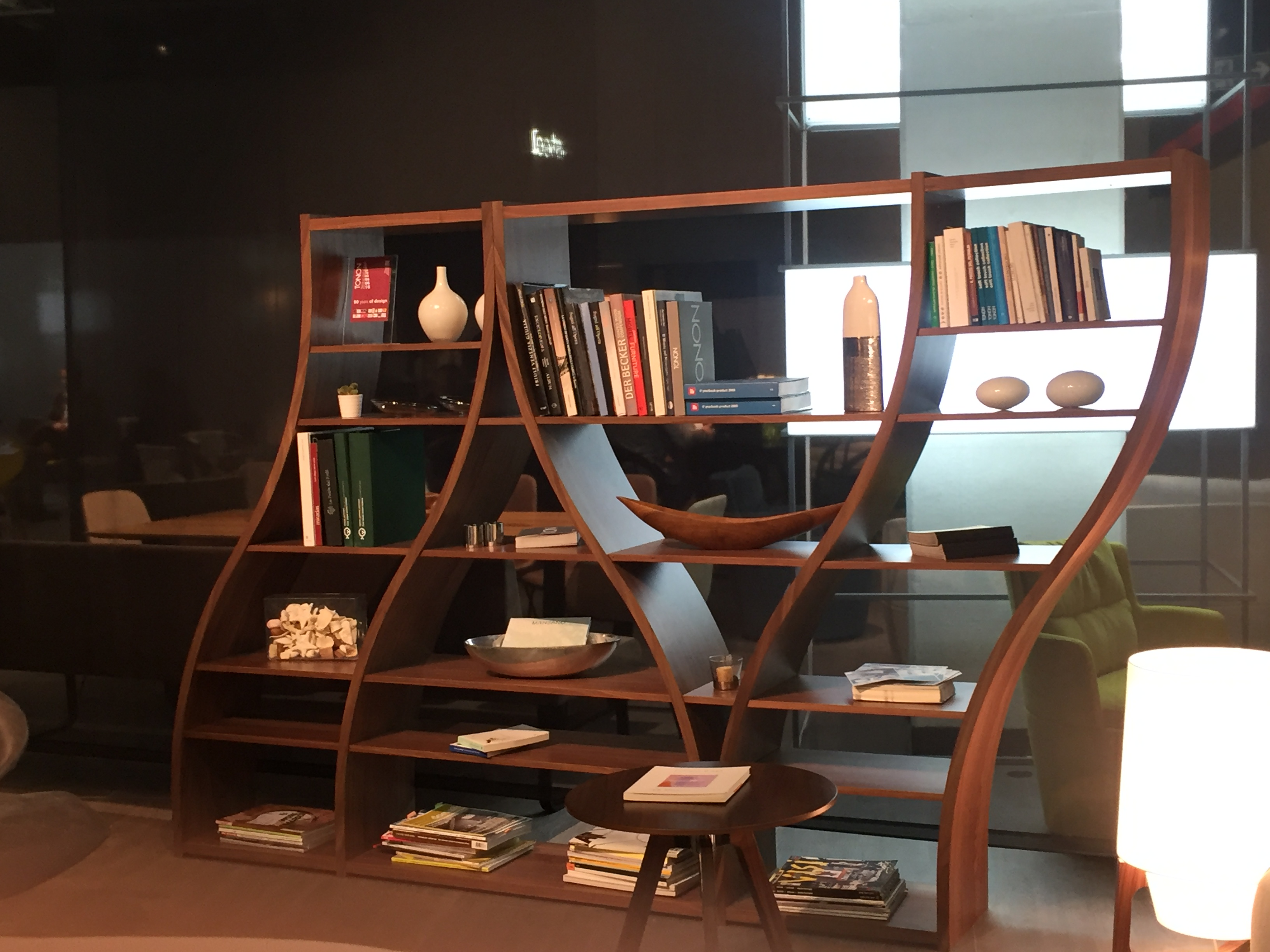 step natural curved bookcase polished teak st room in round interior quarter bookcases endearing furniture white stair sc the painted bookshelf curve wood
