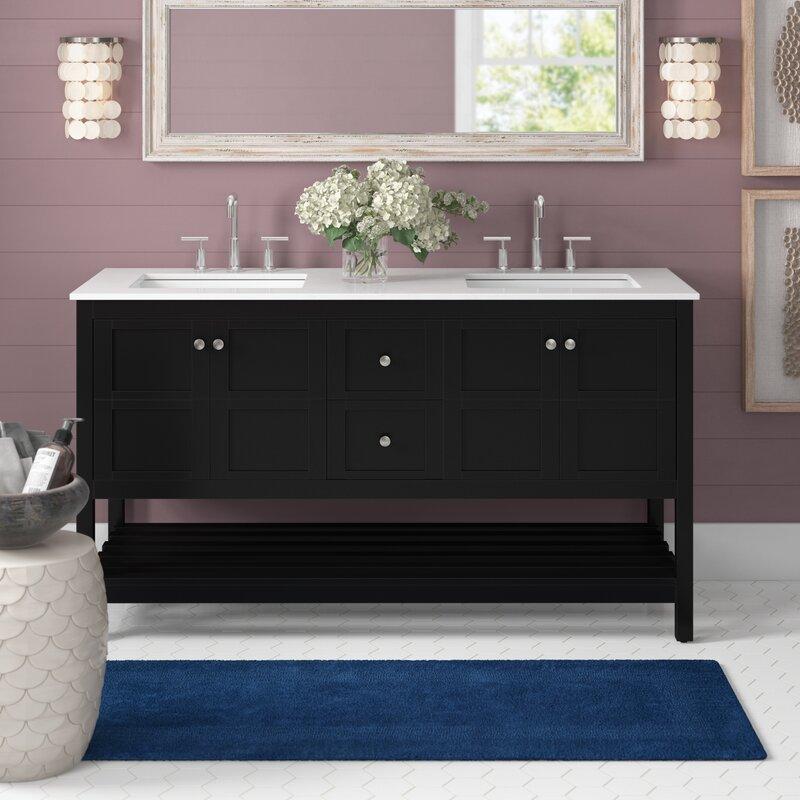 Black double sink vanity with quartz top