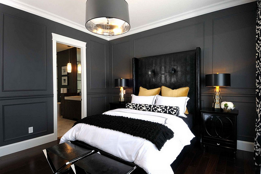 Modern master bedroom with solid black painted walls. | ideas for ...