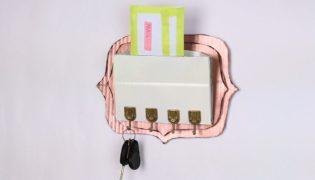 Cardboard keys entryway organizer