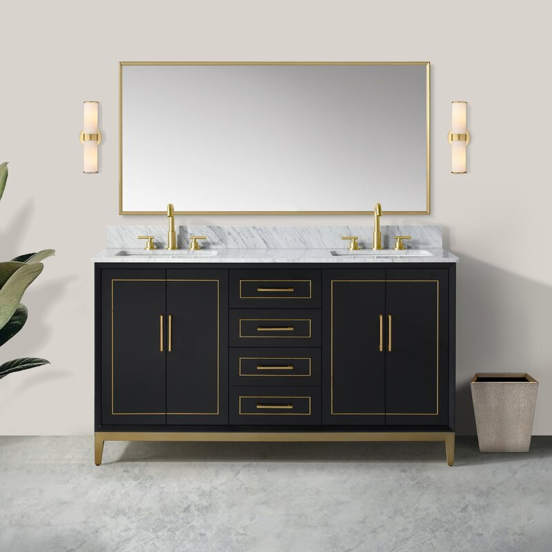 Classic black vanity with brass accents