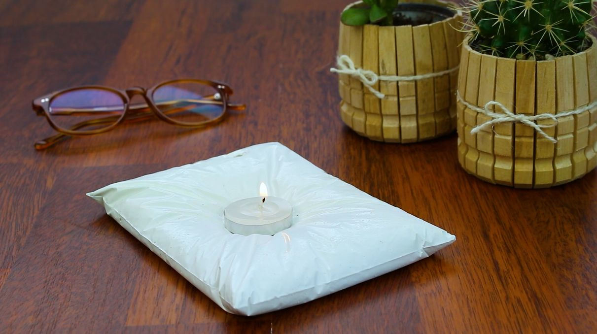 Charming Concrete Pillow Style Candle Holder