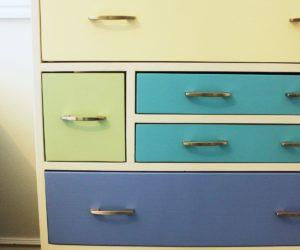 DIY Retro Rainbow Wooden Dresser