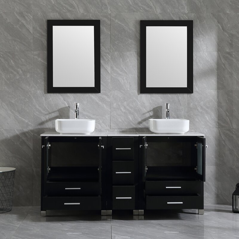Double vanity with over-the-counter sinks