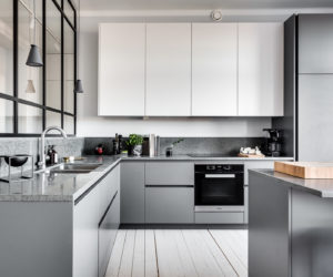 modern gray kitchen cabinets beat monotony with style rh homedit com modern blue grey kitchen cabinets modern grey kitchen cabinet doors