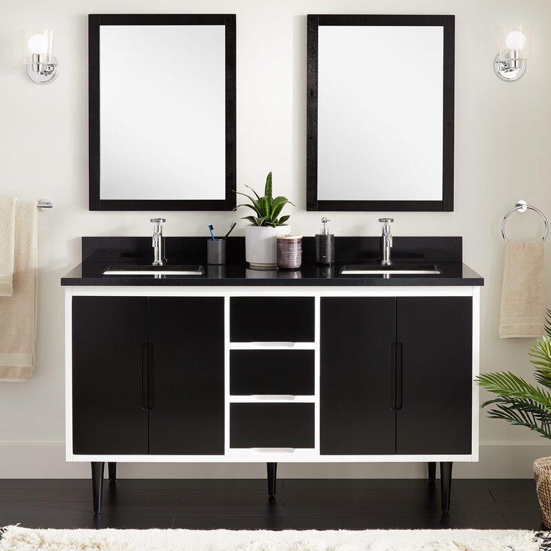 Mid-century inspired black and white vanity