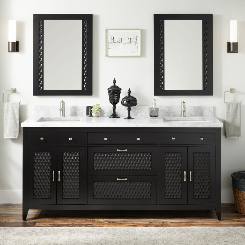 Modern double-sink vanity with generous storage