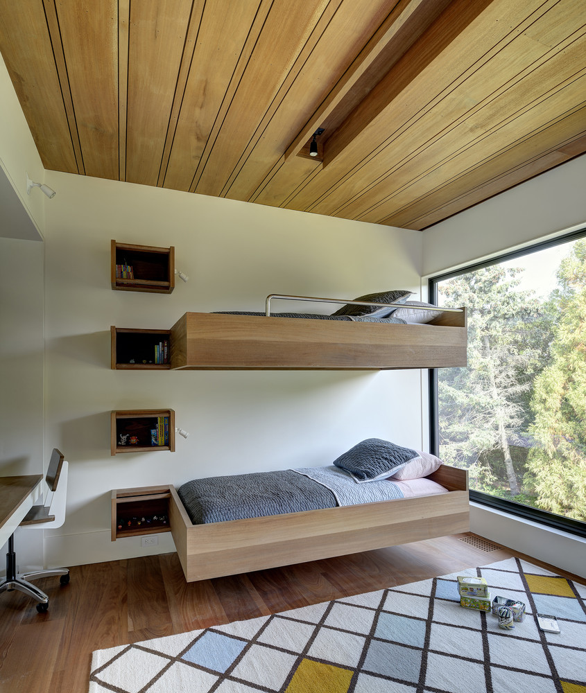 Even regular beds can be made interesting by being mounted onto the wall so they appear to float