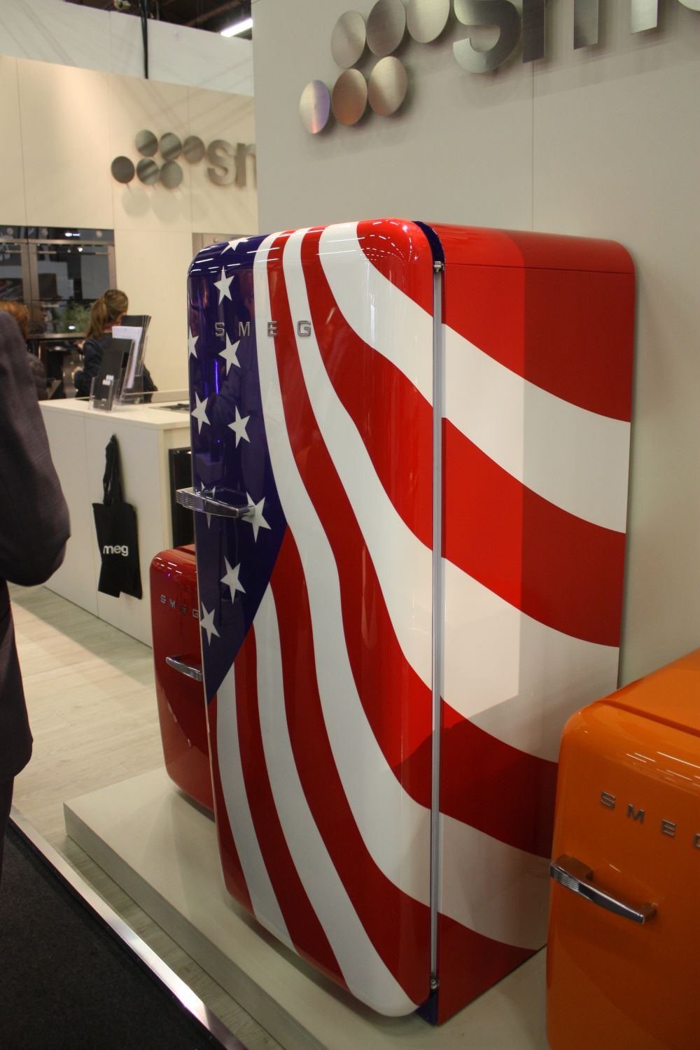 Colored refrigerators are not always monochromatic. This one, for instance, features a patriotic design