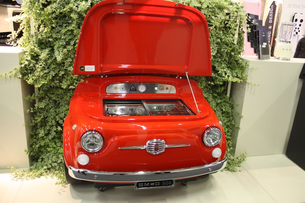 This unique refrigerator is designed for car enthusiasts and is made with real Fiat body parts
