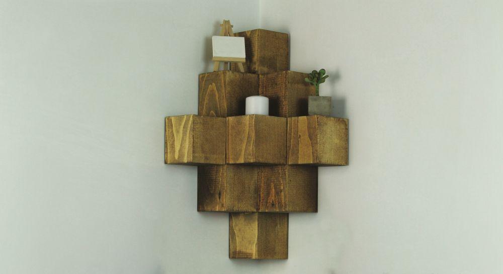 Build A Novel Wood Cube Corner Shelf