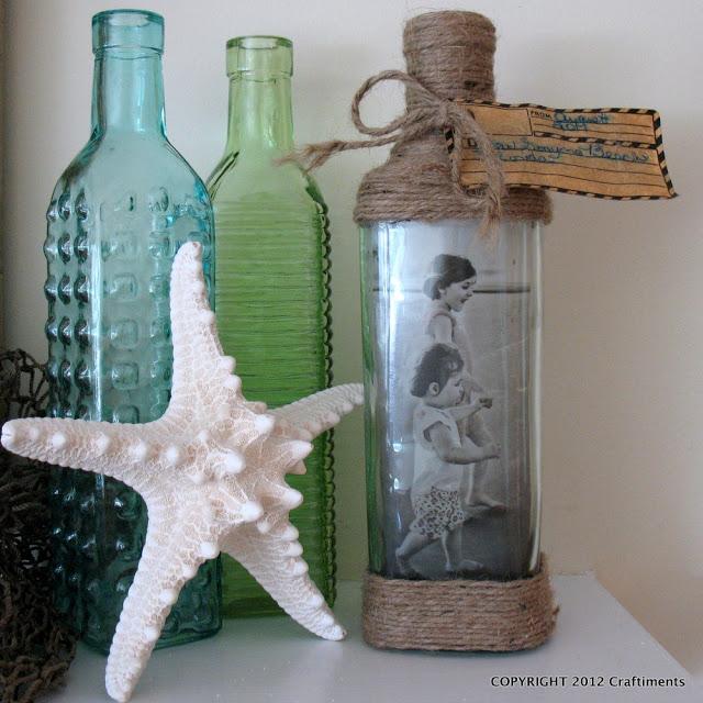 DIY picture frame Beachy Bottle Photo Frame
