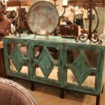 Bella rustica green credenza with mirrors on doors