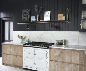 Black kitchen beadboard wood cabinets