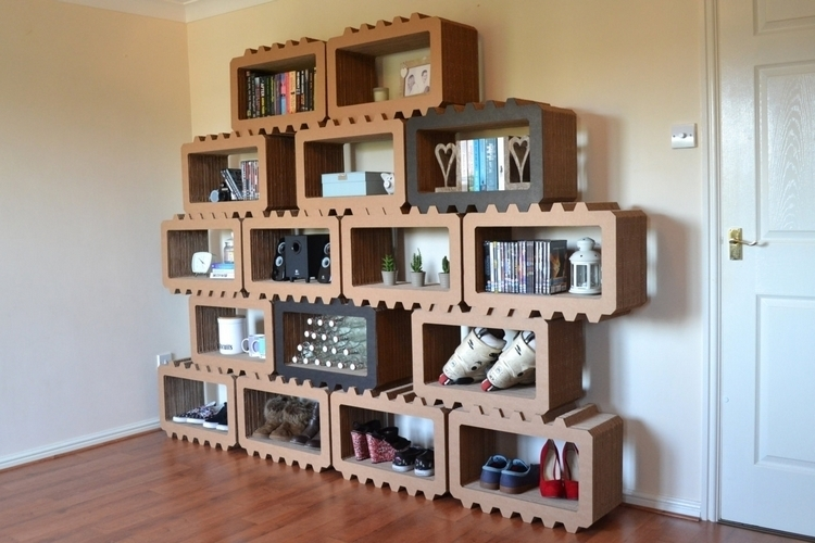 Cardboard Furniture Surprisingly Strong And Unexpectedly Stylish - Cardboard-bookshelves