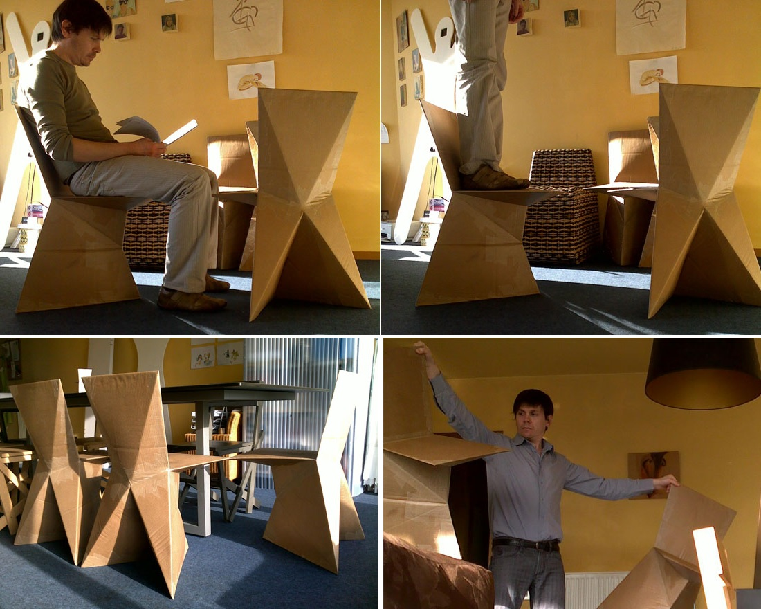 Comfortable cardboard chair designs - View In Gallery Cardboard Chairs