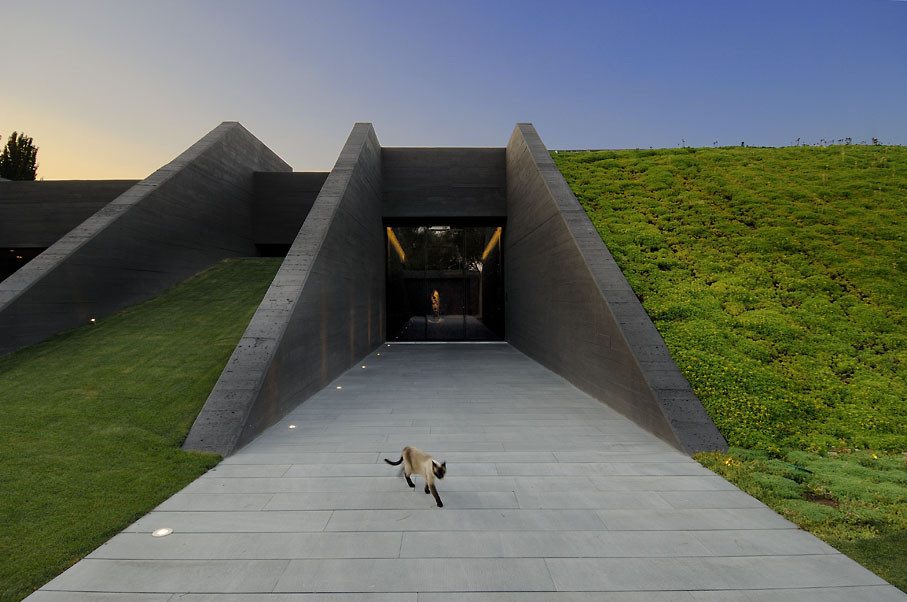 Underground Concrete Building : Modern semi underground homes that become one with the land