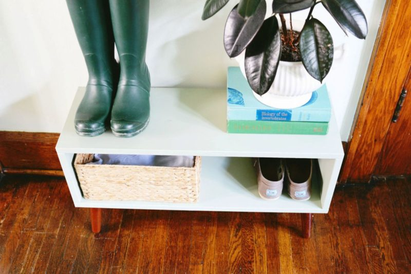 DIY Mid Century Modern Inspired Entryway Shoe Rack