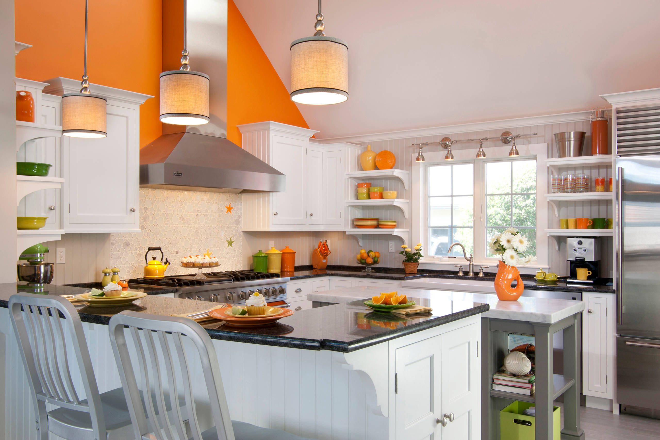 White Kitchen Orange Accents 100 beautiful kitchens to inspire your kitchen makeover