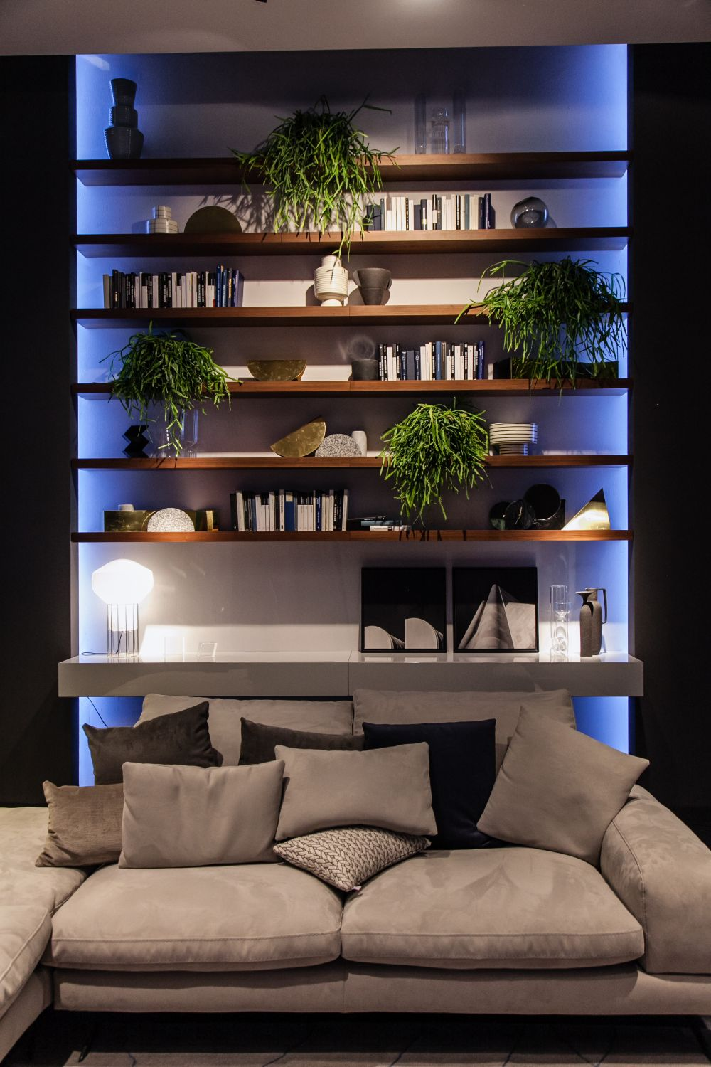 Mix and match the items that you display on a shelf for a bit of diversity. For example, put books next to planters
