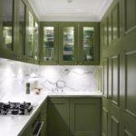 Green cabinets kitchen marble backsplash