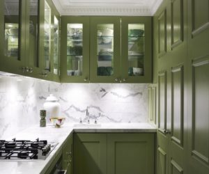 Green Cabinets Kitchen Marble Backsplash