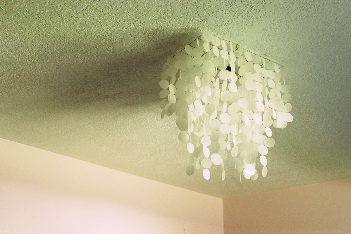 Diy faux capiz shell pendant light chandelier view in gallery aloadofball Choice Image