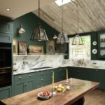 Hunter green kitchen marble countertop