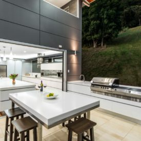 Kitchen with a modern outdoor extension