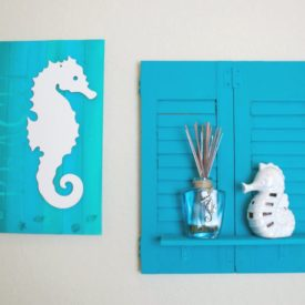 Make a Shelf by Using Repurposed Wood Shutters Art
