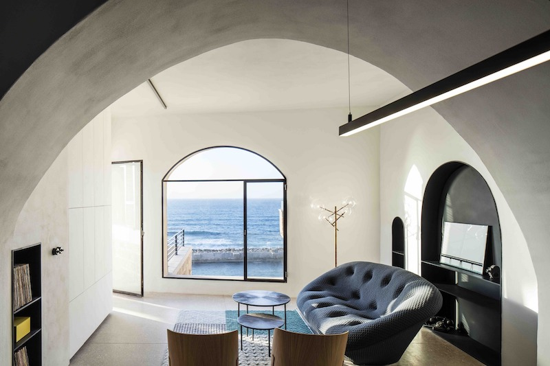 Apartment Building Interior historic apartment with a cave-like interior and views of the sea